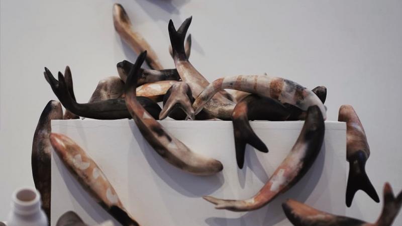 Mella Shaw Jumping Fish detail